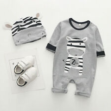 Newborn Infant Baby Girl Boy Cartoon Animal Romper Jumpsuit Playsuit Hat Clothes