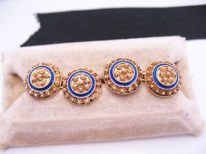 Antique Portuguese Sterling Silver Etruscan Gold Filigree Cufflinks Blue Enamel