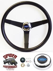"1978-1991 Ford pickup steering wheel BLUE OVAL 14 3/4"" VINTAGE BLACK"