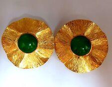 45ct Cabochon Jade clip earrings 14kt circular graver petal