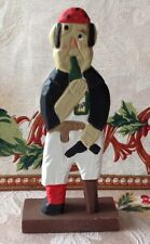"6"" Hand Carved Wood Wooden Peg-Leg Pirate Sailor w/ Rum Bottle & Eye Patch"