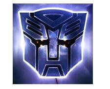 Glowing LED Transformers AUTOBOTS Car Emblem - WHITE vehicle auto badge hood