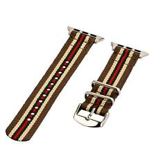 Brown/Tan/Green/Red - 2 Piece Classic SS Nylon Watch Band for 42mm Apple Watch