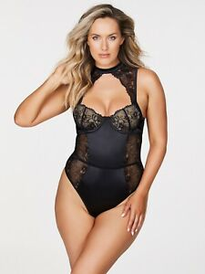 Frederick's Of Hollywood Julienne Satin And Lace Black Teddy Large L