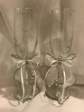 Elegant Rose Toasting Champagne Wedding Flutes Glasses Reception Glass Party