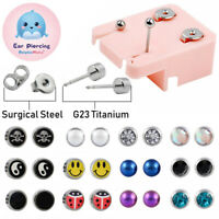 PAIR G23 Titanium Surgical Steel CZ Stone Ear Stud Cartilage Piercing Earring