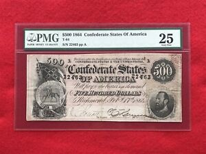 """T-64 1864 $500 CSA Confederate Note """"Stonewall Jackson"""" *PMG 25 Very Fine*"""