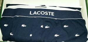 Mens Navy LACOSTE Lounge Jogger Pocketed Pants w/White Alligator Logo Pattern》XL