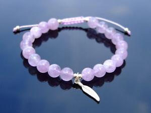 Amethyst Sterling Silver Feather Natural Gemstone Bracelet 6-9'' Macrame Healing
