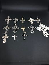 LOT OF 14 STERLING SILVER CROSS/CRUCIFIX PENDANTS RELIGIOUS-140g