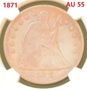 US. Seated Liberty. 1871. Silver Dollar Coin. NGC AU 55