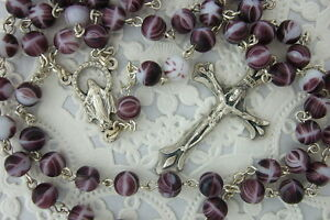 Catholic Rosary PURPLE Swirl 6mm Glass Beads Italy Miraculous medal center NOS