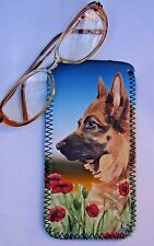 GERMAN SHEPHERD DOG DESIGN NEOPRENE GLASSES CASE POUCH SANDRA COEN ARTIST PRINT