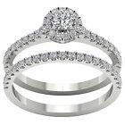 Halo Engagement Bridal Ring Set I1 G 1.01 Ct Real Diamond 14K Gold Appraisal