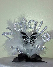 BLACK  BUTTERFLY BIRTHDAY CAKE TOP/TOPPER / ANY NAME /18th/21st/30th/40th/50TH