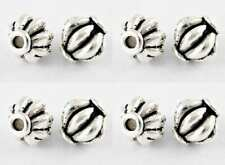 40 Antique Silver Spacer Beads - Bicone Beads - Pumpkin Spacers 8mm Metal