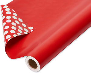 American Greetings Reversible Valentine's Day Wrapping Paper Jumbo Roll, Solid R