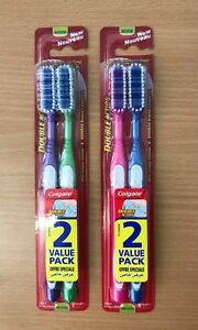 x 4 Colgate Double Action Toothbrush Medium Free P&P