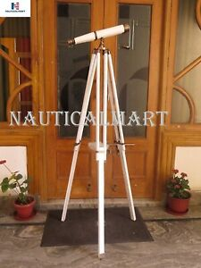"62""Floor Standing Admiral's with Binoculars Bronzed White Leather Christmas gift"