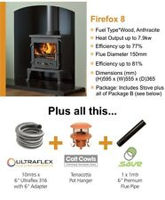 STOVE PACKAGE 6 FIREFOX 8 kw MULTIFUEL STOVE AND FLUE PACK