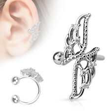 Crossed Wings with CZ Rhodium Plated Brass Non Piercing Cartilage Ear Cuff Ring
