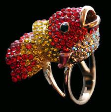 Ring Goldfisch, rote, gelbe und weiße Kristalle, Größe 54 RW 17