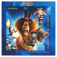 Austria 2012 Madagascar 3 Animation Mini Sheet of 4 Stamps Self-adhesive MUH