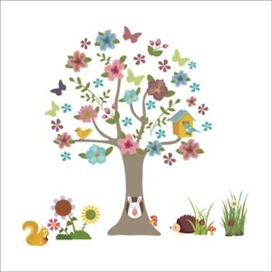 Forest Tree Flower DIY Wall Stickers Nursery Kids Room Removable Mural Decor UK