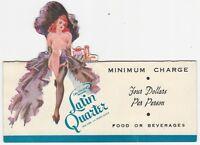 1950s Folding Advertising Card for Lou Walters Latin Quarter Night Club