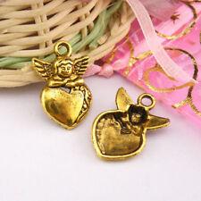 5Pcs Tibetan Silver,Antiqued Gold,Bronze Angel Heart Charms Pendants M1262