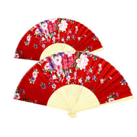 AM_ EE_ Chinese Bamboo Silk Floral Printed Hand Held Folding Fan Decor Photograp