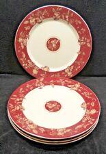 Waverly Garden Room Fruit Toile Dinner Plates x4 Red & White Fruit