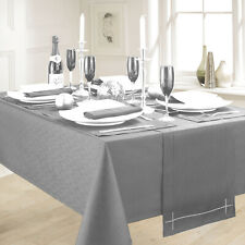 """TABLE CLOTH LINEN LOOK GREY (52"""" x 90"""") OBLONG 100% POLYESTER STYLISH KITCHEN"""