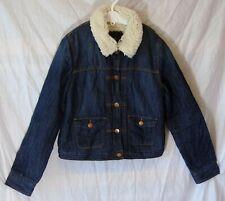 Girls Gap Blue Denim Furry Fleece Lined Collared Jacket Coat Age 13-14 Years