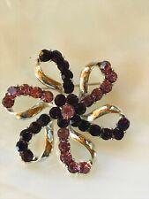 Loopy Flower Pin Brooch – 1 a Estate Dark & Light Purple Rhinestone & Silvertone