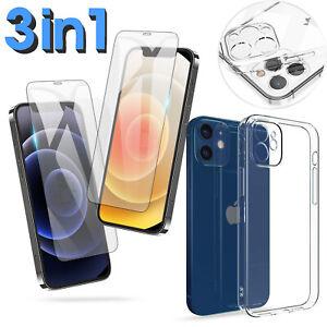 Hülle für iPhone 12 11 Xs Xr 7 Pro Max Kamera Schutzhülle 2x Panzerfolie 9H Glas