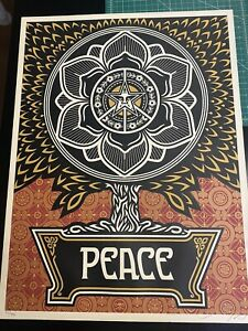 Shepard Fairey Peace Tree Gold Edition 07 Signed Numbered Sold Out Obey
