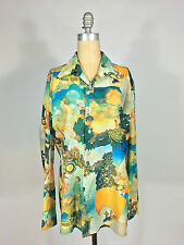 Vintage 1960s-70s 70's Art Nouveau painted graphic print Nylon Mens disco Shirt