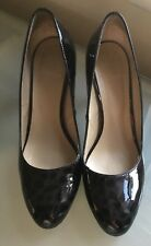 Hobbs Ladies Shoes 5 High Heel Work Black Smart Work Office Patent Animal Print