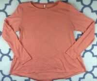 Lucy Athletic Workout Long Sleeve Tee Casual Sz L orange poly nylon