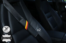 2X FITS FIAT ABARTH STRIPES BLACK STITCH LEATHER LUXURY SHOULDER SEAT BELT PADS