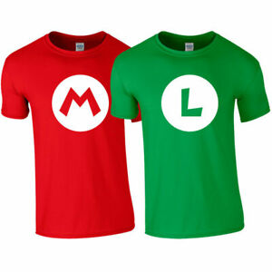 MARIO Red LUIGI Green T shirt Super Brothers Gaming Retro Kids Men's Ladies Top