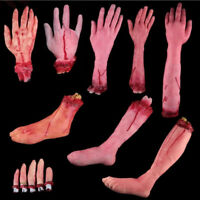 NEW Bloody Horror Scary Halloween Prop Fake Severed Lifesize Arm Hand Haunted