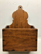 Antique Walnut Wood Wall Hanging Open Candle Box or Pantry Box w Square Nails