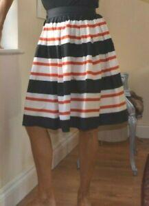 DOLCE & GABBANA Runway Black Rd striped coton poplim full skirt New UK 12 EU 44