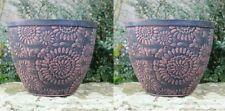 More details for 2 x large plastic round chengdu garden plant pots planter black terracotta 30cm