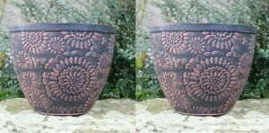 2 x Large Plastic Round Chengdu Garden Plant Pots Planter Black Terracotta 30cm