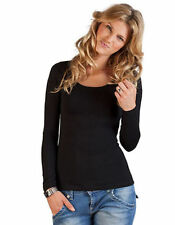Hip Length Long Sleeve No Plus Size T-Shirts for Women