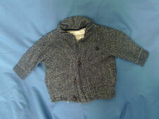 Girls 2 Years - Grey & Blue Spotted Long Sleeved Turtle Neck Stretch Top