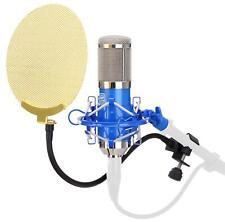 Studio Großmembran Recording Mikrofon Kondensator Mikro Mic Popschutz Set Blau